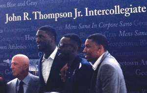 COURTESY ANDREW MINKOVITZ (From left to right): Sports agent and donor David Falk joined Hoya basketball legends Roy Hibbert, Jeff Green and Otto Porter Jr. at the groundbreaking ceremony for the Thompson Athletic Center on Friday.