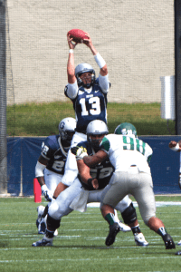 FILE PHOTO: CLAIRE SOISSON/THE HOYA Junior quarterback Kyle Nolan scored two touchdowns Saturday.