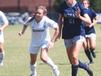 File photo: Claire Soisson/THE HOYA Sophomore forward Grace Damaska had a hat trick Thursday against the Butler Bulldogs in a 4-2 win. She now has four goals this season.