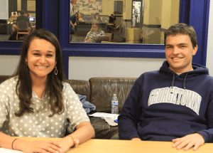 ARIANA TAFTI FOR THE HOYA GUSA Vice President Omika Jikaria (SFS '15) and President Trevor Tezel (SFS '15) have advanced some campaign goals so far.