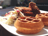 YIWEN HU/THE HOYA Brasserie Beck is the place to go for delicious mussels and impressive brunch. The chicken and waffles plays up the traditional Southern classic by substituting in crispy Belgian waffles and jalepeno maple syrup