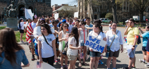 FILE PHOTO: MICHELLE XU/THE HOYA An annual protest for immigrant rights, pictured from 2013, starts on campus, before making its way to the Capitol. The university released updated guidelines for on-campus demonstrations on Monday.