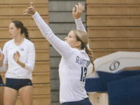 FILE PHOTO: MICHELLE XU/THE HOYA Sophomore setter Caitlin Brauneis has 598 assists and eight service aces this season. She has played in and started 18 matches.