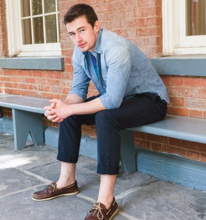On David: Camberwell floral tee in twilight ($39.50) from Jack Wills, Gap shirt ($18.50) from Buffalo Exchange, Barberry slim fit chino in navy ($79.50) from Jack Wills (Michelle Xu/The Hoya)