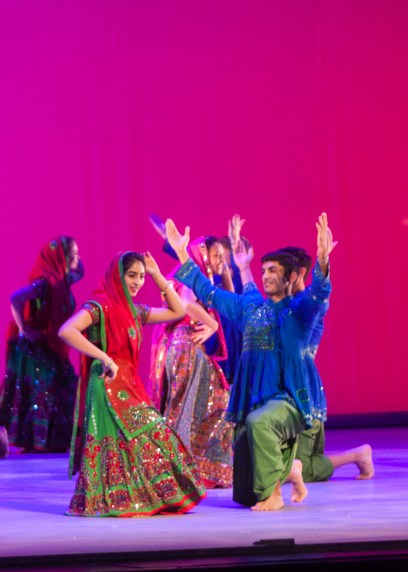 MICHELLE XU/THE HOYA Sonya Nasim (NHS '16) and Nyle Hussain (COL '18) perform in Folk, a dance showcasing the traditions of Rajasthan in Northern India.