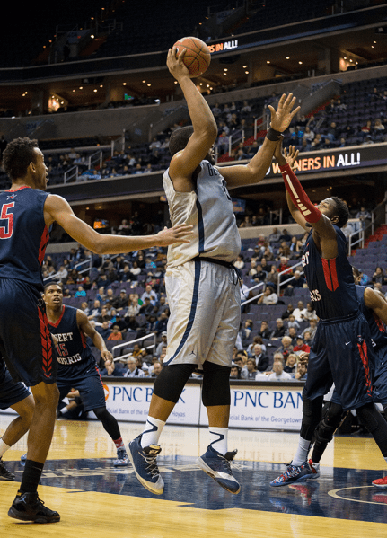 NATE MOULTON/THE HOYA Senior center Josh Smith scored 22 points and pulled 11 rebounds against Robert Morris for his second double-double in as many games.
