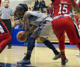 JULIA HENNRIKUS/THE HOYA Freshman guard Dorothy Adomako led the Hoyas against St. John's on Friday. Although the Hoyas fell to the Red Storm 75-57, Adomako scored 15 points and notched six rebounds.