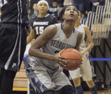 JULIA HENNRIKUS / THE HOYA Junior forward Dominique Vitalis posted up in the paint in a 69-61 win against Providence
