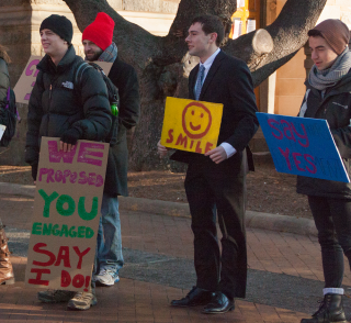 ISABEL BINAMIRA/THE HOYA GU Fossil Free led a sparsely attended rally before the Jan. 16 vote.