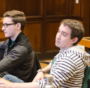 DAN GANNON/THE HOYA  The GUSA senate certified the executive election win of Joe Luther (COL '16), right, and Connor Rohan (COL '16), not pictured, on Sunday.