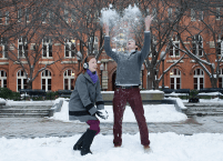 DAN GANNON/THE HOYA Claire Reardon (SFS '17) and Andrew Sullivan (COL '17) share a moment in the snow. The two have been friends since early last year, but they only officially began dating five months ago. Rather than celebrate their first Valentine's Day in town, Reardon and Sullivan spent this past Saturday indoors, where they comemmorated the occasion with a three-course fondue meal.