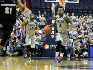 CLAIRE SOISSON/THE HOYA Junior guard D'Vauntes Smith-Rivera led all scorers with 21 points in Georgetown's loss to Providence on Wednesday night. Smith Rivera was 6-of-14 of the field and 5-of-10 from the three-point line.
