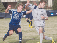 FILE PHOTO: CLAIRE SOISSON/THE HOYA Senior midfielder Austin Martz scored four goals and had 11 points during his final season on the Hilltop and started all 21 games.