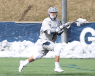 CLAIRE SOISSON/THE HOYA Freshman attack Stephen Quinzi recorded his first career hat trick in his team's 13-11 win over Hofstra. Quinzi has six goals so far this season.