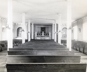 COURTESY GEORGETOWN UNIVERSITY ARCHIVES The Mulledy Hall Chapel, photographed in 1893, provided a space for Jesuit prayer.