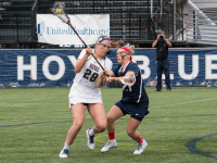 FILE PHOTO: CLAIRE SOISSON/THE HOYA Junior midfielder Kristen Bandos was named Big East Midfielder of the Week for last week. Bandos scored the game-winning goal with 15 seconds left in the Hoyas' 13-12 win over UConn.