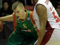 COURTESY EUROCUP BASKETBALL Latvian forward Kristaps Porzingis is expected to be selected in the top-ten picks of the NBA Draft.
