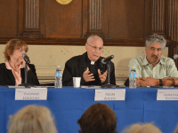 DAN GANNON/THE HOYA School of Foreign Service Professor Yvonne Haddad, Anglican priest Naim Ateek and human rights lawyer Jonathan Kuttab discussed the problems faced by the Christian minority in Israel and Palestine at a panel discussion Friday in Copley Formal Lounge.