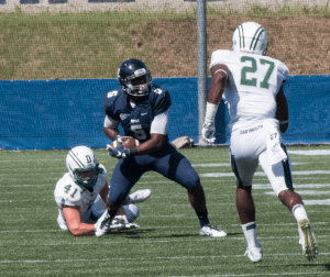 FILE PHOTO: ISABEL BINAMIRA/THE HOYA Junior wide receiver Justin Hill had four receptions for 118 yards and two touchdowns, including an 80-yard touchdown reception, in the Hoyas' 24-16 win over Columbia. Hill has 292 yards this season.