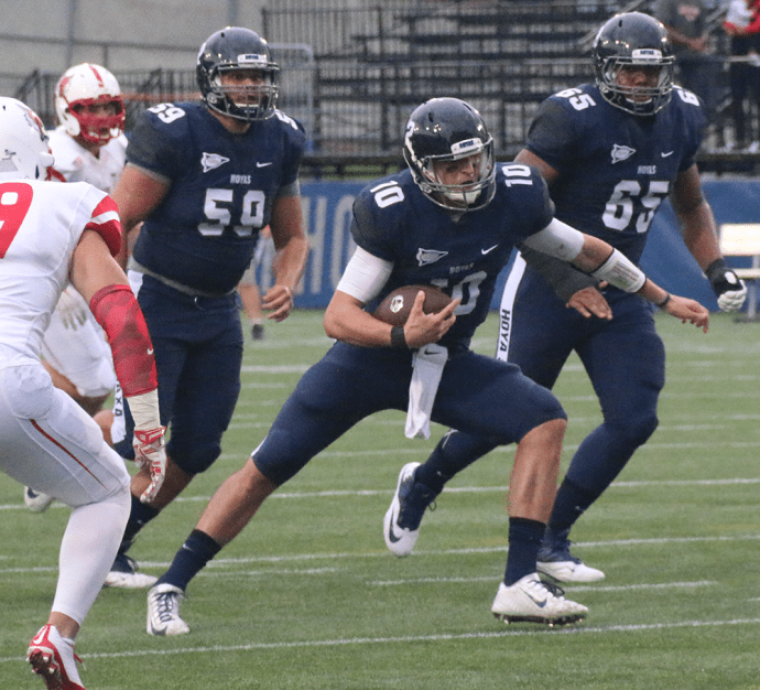 ISABEL BINAMIRA/THE HOYA Senior quarterback Kyle Nolan was named Patriot League Offensive Player of the Week following a 200-yard performance against Marist. Nolan threw for two touchdowns and zero interceptions and also rushed for 26 yards.
