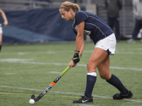 FILE PHOTO: JULIA HENNRIKUS/THE HOYA Junior defender Devin Holmes has two goals and two assists for a total of six points, leading the Hoyas in all three categories. Holmes has scored her two goals on only three shots for a shot percentage of 0.667.