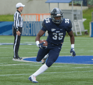 FILE PHOTO: KARLA LEYJA FOR THE HOYA Senior running back Jo'el Kimpela had 22 carries for 104 yards in his team's 17-13 loss to Colgate. Kimpela added three receptions for 23 yards in the game.