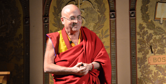 KATHLEEN GUAN/THE HOYA Buddhist monk and author Matthieu Ricard spoke about happiness and altruism in Gaston Hall on Monday as part of his global promotional tour for his latest book.