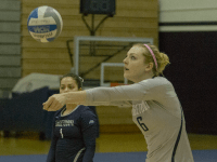 STANLEY DAI/THE HOYA Freshman outside hitter Liv King is second among Georgetown players with 224 kills this season, averaging 2.49 kills per set. King has played in all 24 of her team's matches in the 2015 season, starting 21 of them.