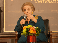 SOPHIE FAABORG ANDERSEN Former Secretary of State and Georgetown professor Madeleine Albright participated in a discussion on the role of women in peacekeeping efforts.