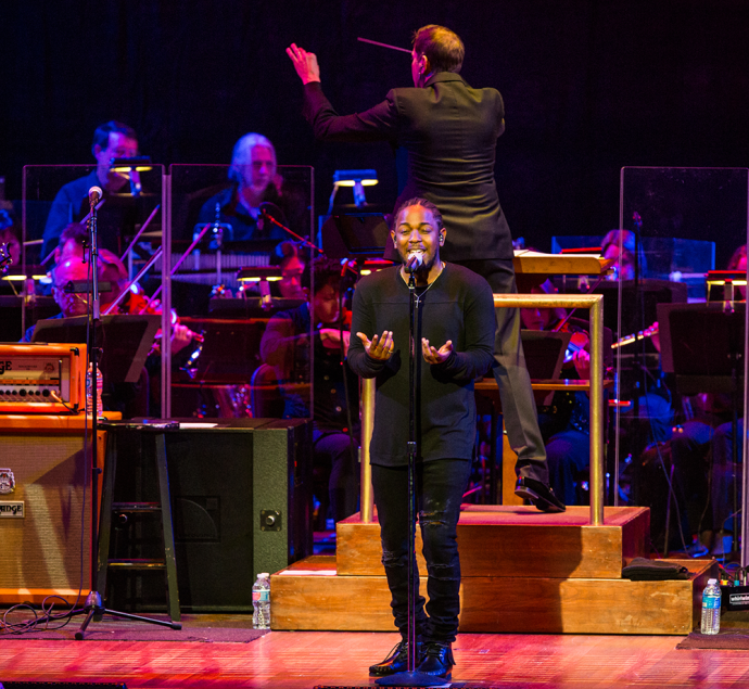 COURTESY YASSINE EL MANSOURI Kendrick Lamar played a 15-song set and an encore at the Kennedy Center for the Performing Arts on Tuesday night, accompanied by the National Symphony Orchestra.