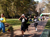 ASHWIN PURI/THE HOYA Runners in costume took part in Sigma Phi Epsilon's annual 5K Against Domestic Violence fundraiser benefitting Virginia nonprofit Doorways for Women and Families on Friday. Campus organizations such as Take Back the Night and Club Swimming were also official event supporters.