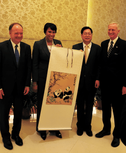 COURTESY KARIMA WOODS  President John J. DeGioia, Mayor Muriel Bowser, Chinese People's Association for the Friendship of Foreign Countries Vice President Xie Yuan and Ward 2 Councilmember Jack Evans pose for a photo during the trip.