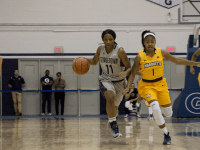 CLAIRE SOISSON/THE HOYA Freshman guard Dionna White leads Georgetown's attack this season with 15 points per game. White also is the team's top rebounder, averaging a total of six rebounds per game this season.