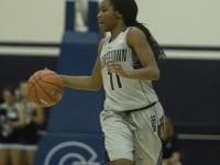 FILE PHOTO: KARLA LEYJA/THE HOYA Freshman guard Dionna White leads Georgetown in points per game with 14.6, assists per game with 3.8 and rebounds per game with 5.9. White had 17 points in Georgetown's win over Creighton Friday night.