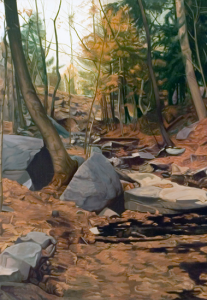 """WALTER WICKISER GALLERY American abstract artist Ralph Wickiser's work, which is on display in the Spagnuolo Art Gallery, includes The Stream, a scene that is a frequent source of inspiration for Wickiser's art and became a series of paintings called """"Reflected Stream."""""""