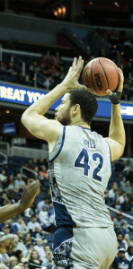 STANLEY DAI/THE HOYA Senior center and co-captain Bradley Hayes emerged as a starter this season, averaging 8.5 points and 6.6 rebounds per game.