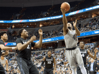 FILE PHOTO: CLAIRE SOISSON/THE HOYA Senior guard and co-captain D'Vauntes Smith-Rivera finished his senior season with a team-high 16.2 points per game, 4.5 assists per game and 3.6 rebounds per game.