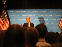 ALY PACHTER/THE HOYA Vice President Joe Biden discussed political dysfunction and the Supreme Court confirmationat the Georgetown University Law Center on Thursday.