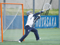 FILE PHOTO: NAAZ MODAN/THE HOYA Senior goalkeeper Megan McDonald recorded five saves in the second half of Georgetown's 9-8 loss to Villanova on Wednesday. McDonald has recorded 54 saves this season in 426 minutes in the cage.
