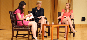 COURTESY HAYDEN E. JEONG In a conversation moderated by GU Lecture Fund Finance Chair Elizabeth Rich (COL '16), left, and Chair Helen Brosnan (COL '16), Planned Parenthood President Cecile Richards discussed the importance of protecting women's reproductive rights.