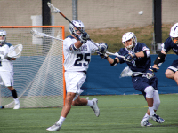 FILE PHOTO: CLAIRE SOISSON/THE HOYA Junior defender Charlie Ford picked up two ground balls in Georgetown's 17-4 home loss to No. 4 Denver. Ford has tallied 20 ground balls and has caused five turnovers so far this season.