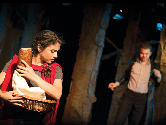 "JINWOO CHONG/THE HOYA Vanessa Chapoy (COL '18) and Daniel Frumento (COL '18) in Mask and Bauble's ""Into the Woods."""