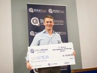 COURTESY GEORGETOWN UNIVERSITY Doug Grant (MBA '16) won $10,000 at Entrepalooza for his pitch of Hemeos, a blood cell stem registry startup
