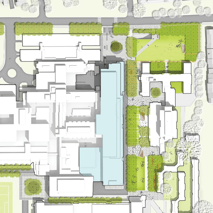 COURTESY HKS, SHALOM BARANES ASSOCIATES JV The conceptual drawings from the Sept. 1, 2016 Old Georgetown Board hearing, above, show the plans for the proposed $567 million medical and surgical pavilion for MedStar Georgetown University Hospital which received concept approval last week.