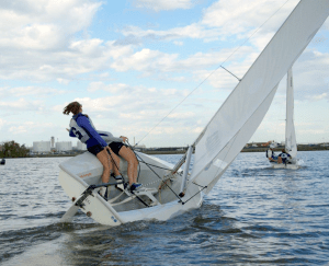 Courtesy Guhoyas The men's and women's sailing teams practice on the Potomac River. The sailing teams will look to defend their national championships this season. The teams will compete in the MAISA Championship in two weeks.