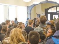 FILE PHOTO: DAN GANNON/THE HOYA The Georgetown Solidarity Committee rallied in 2015 to support Aramark employees during contract negotiations with Aramark management.