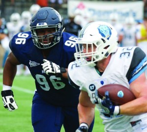 COURTESY GUHOYAS Freshman defensive lineman Marquis Parris had six total tackles and one tackle for loss in Friday's 31-17 loss to Harvard. He was named Patriot League Rookie of the Week,