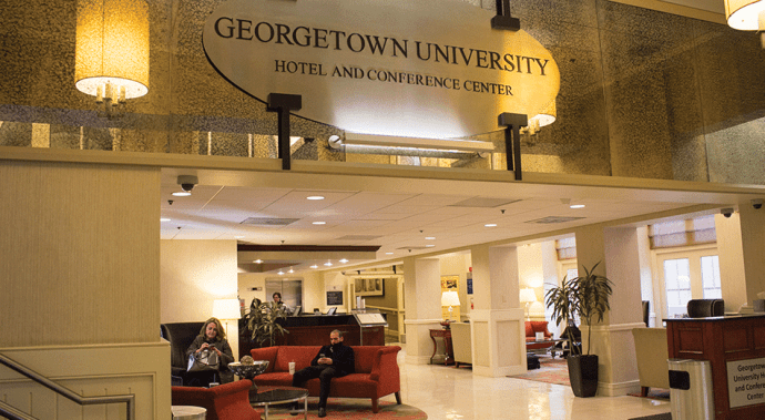 FILE PHOTO: TINA NIU/THE HOYA The Georgetown University Hotel and Conference Center will house 15 students facing financial concerns over winter break.