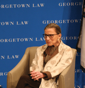 FILE PHOTO: KSHITHIJ SHRINATH/THE HOYA Supreme Court Justice Ruth Bader Ginsburg spoke about her most memorable moments at an event Thursday.