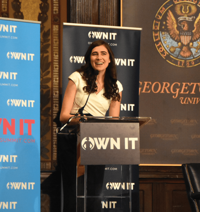 JESUS RODRIGUEZ/THE HOYA Soraya Eid (COL '17) opened the fourth annual OWN IT summit in Gaston Hall on Saturday.